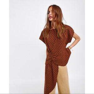 ZARA Jacquard Asymmetrical Draped T-shirt Top